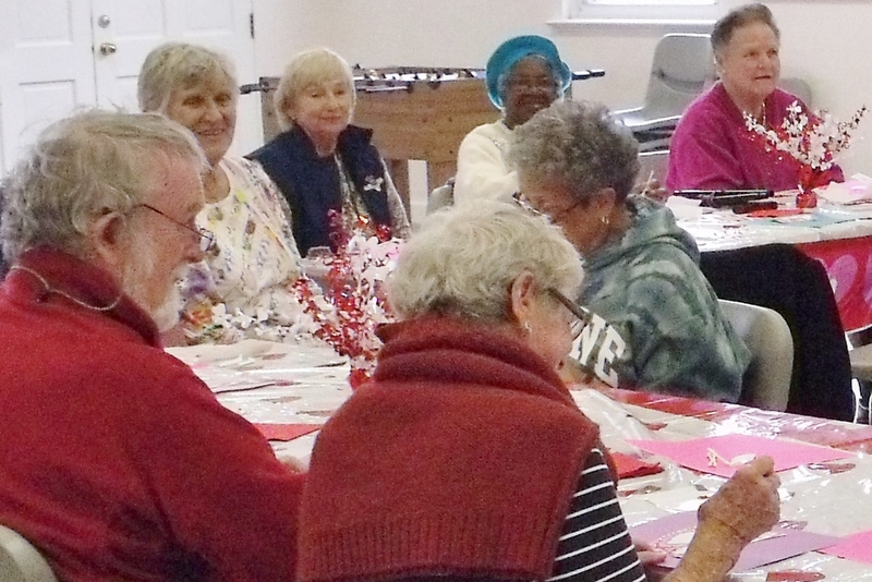 Making Valentine cards at the 'Trinity Tea' hosted by Holy Trinity Church
