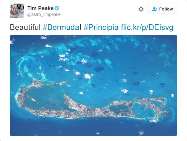 Tim Peake tweet bermuda feb 17 2016