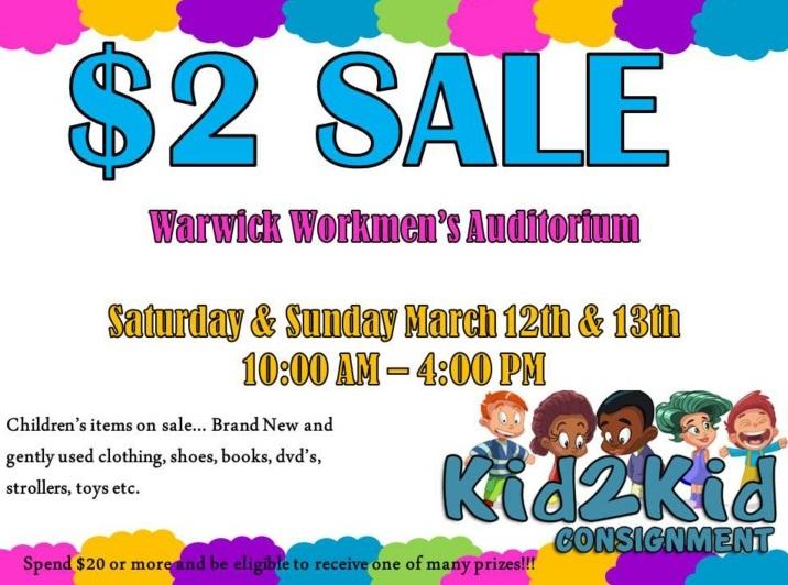 2 Sale at Warwick Workmens's Auditorium Bermuda March 9 2016