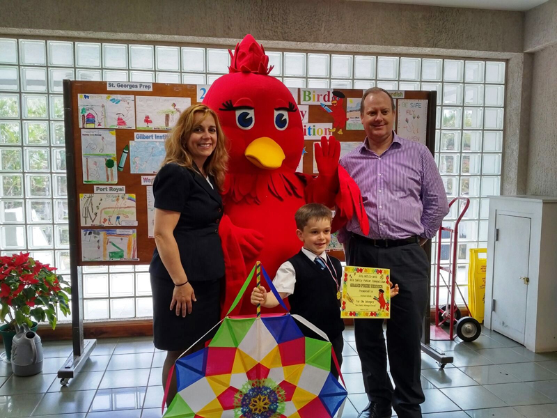 2016 Poster Competition - Winner Michael Schrah and parents with BELCO Bird