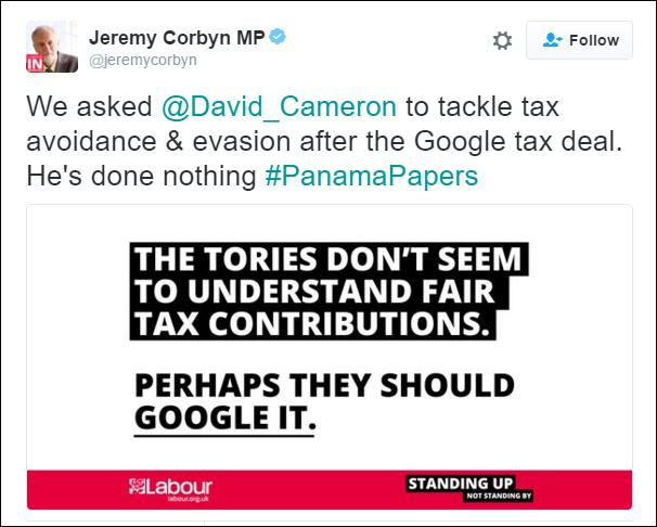 Jeremy Corbyn Tweet Bermuda April 5 2016