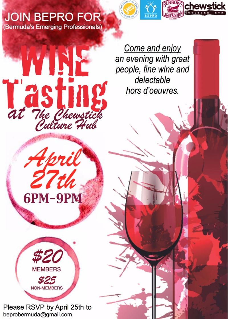 chewstick wine tasting Bermuda April 23 2016