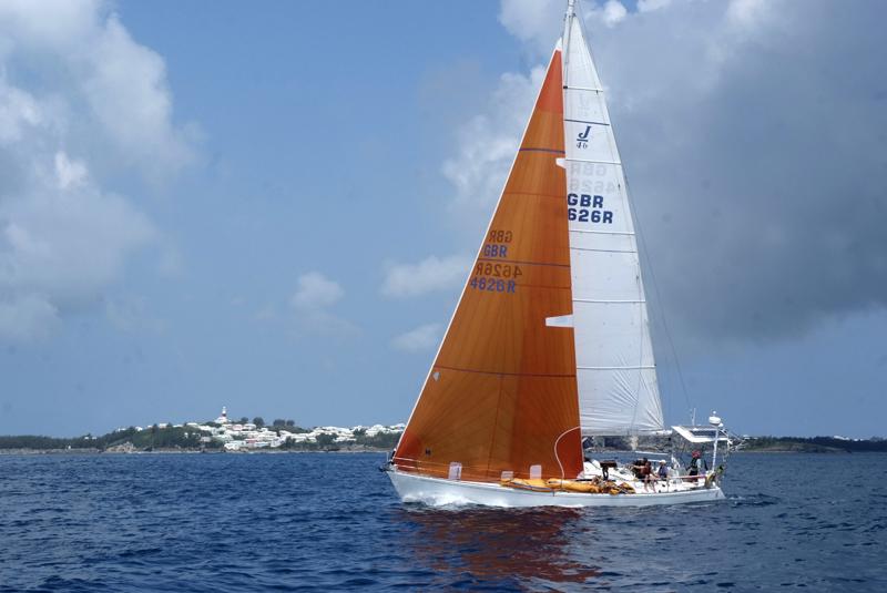 2014 Newport Bermuda Race finish off St. David's Lighthouse Cruiser Division 11, BREEZING UP (W. Bradford Willauer)
