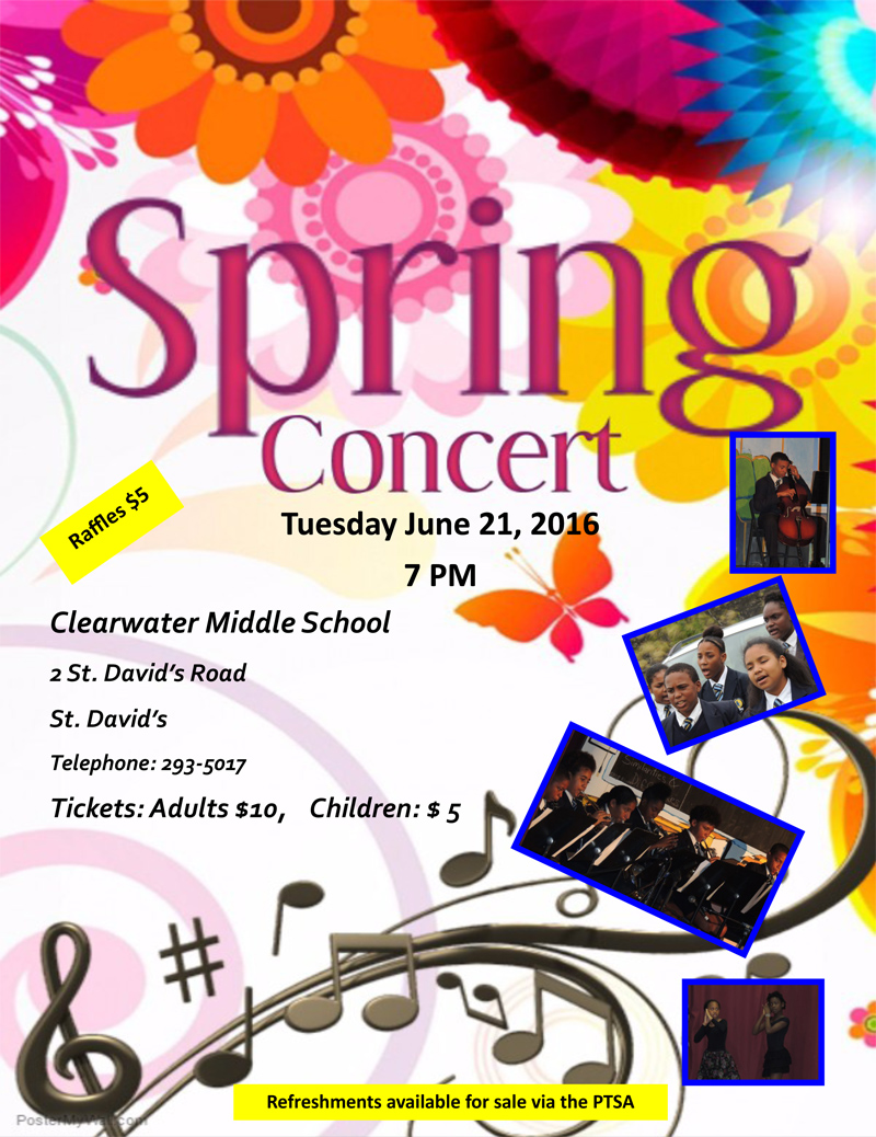 Clearwater Middle School's- SPRING CONCERT- TUESDAY, 21ST JUNE 2016