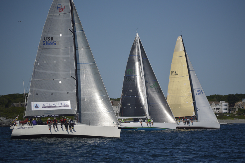 2016 Newport Bermuda Yacht Race start.  OAKCLIFF FARR 40 - BLUEUSA 51990SDL10Oakcliff SailingOakcliffSt. David's Lighthouse DivisioFarr 40WhiteNewport Shipyard51990Oakcliff Sailing CRAZY HORSEUSA 43777SDL10Low Tide YCKevin McLaughlinSt. D