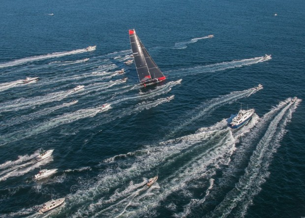 2016 Newport Bermuda Yacht Race start. COMANCHE skippered by Ken Read, blasts away from the start at 25knots, in the hope of breaking the course record of 39 hours 39 minutes