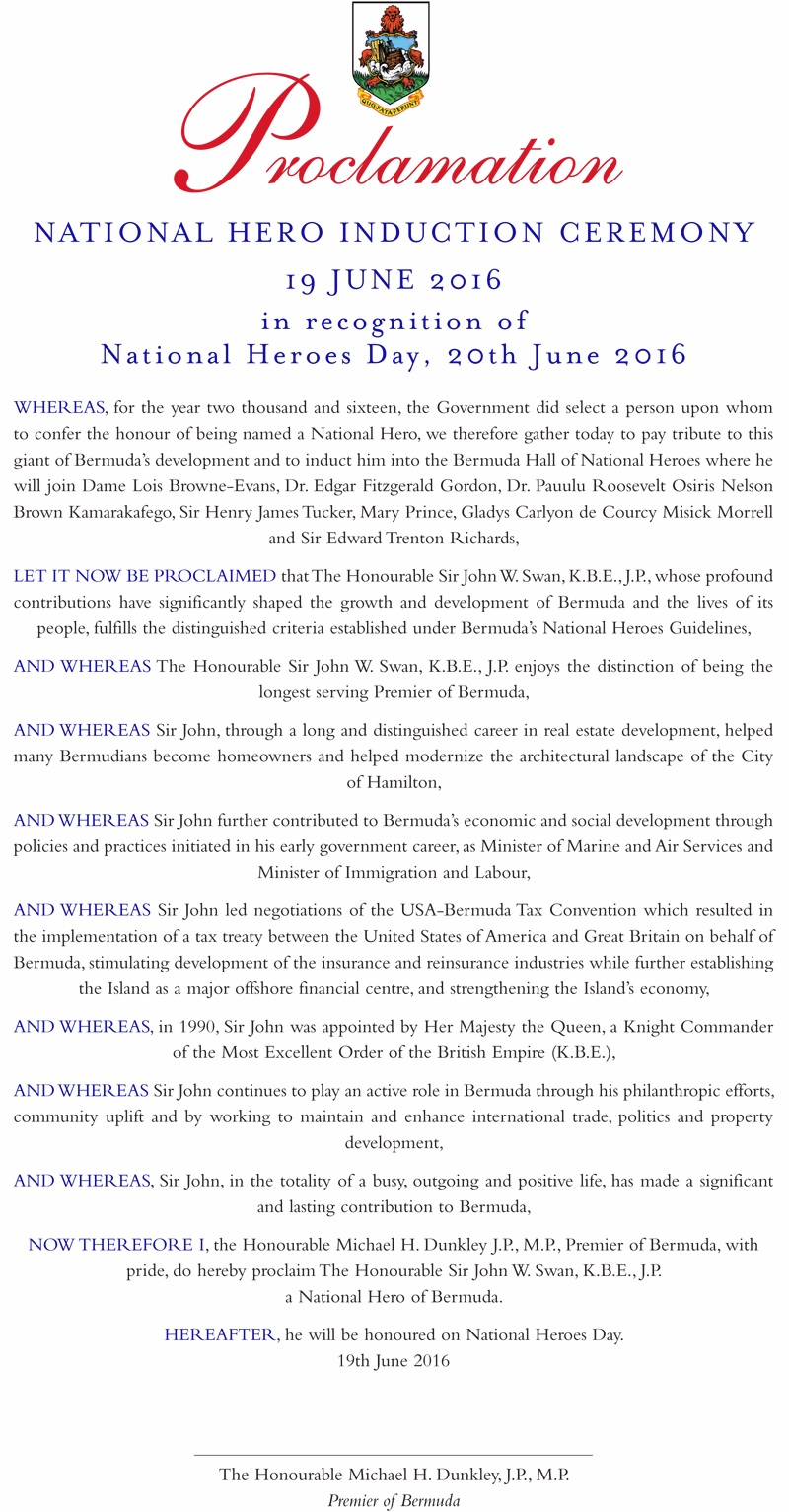 National Heroes Day Ceremony Bermuda June 19 2016 Proclamation