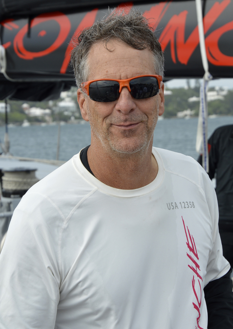 """016 Newport Bermuda Yacht Race finish.  Stan Honey, """"the best navigator in the world"""" according to COMANCHE skipper Ken Read after setting a new elapsed n time  record of 34h 52m 53s,  to break the previous record set by RAMBLER IN 2012  by more than 4h 3"""
