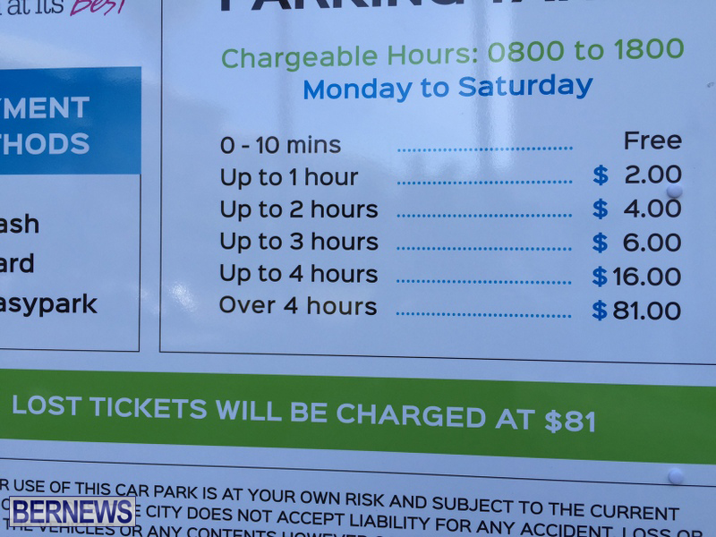 City Hall Car Park Pay Signs Bermuda August 2016 (2)