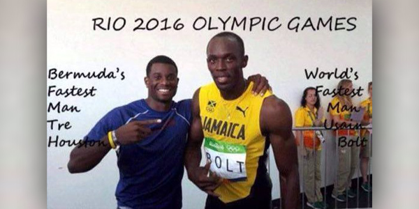 Tre Houston with Usain Bolt Olympics Bermuda August 17 2016 TC