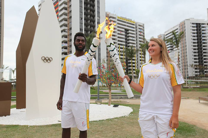 Wollmann Carries Olympic Torch Bermuda August 4 2016