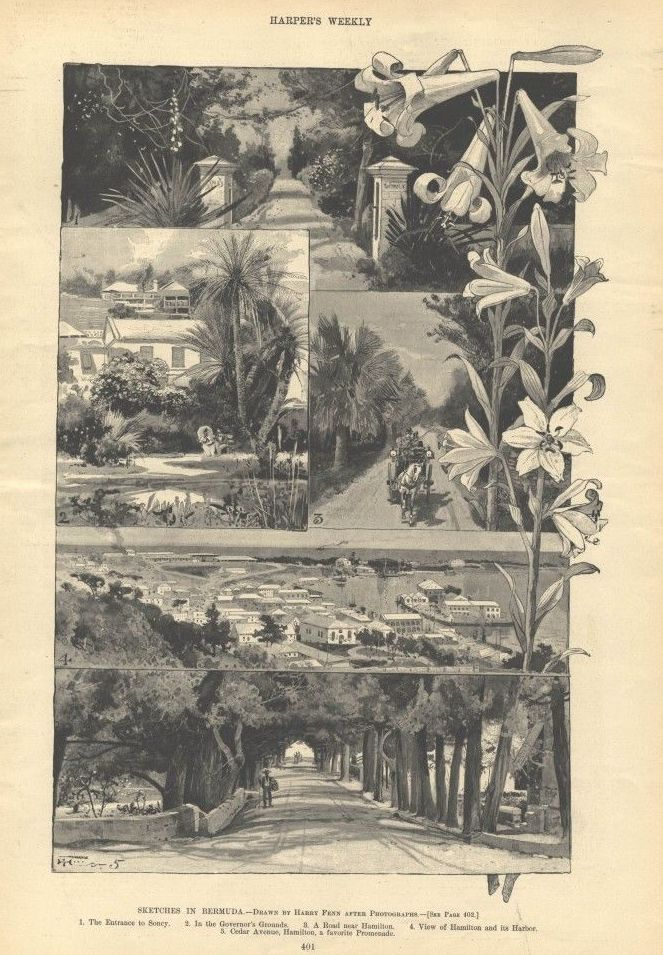 1895 Bermuda History Sketches Vintage Print Harry Fenn Harpers Weekly Article