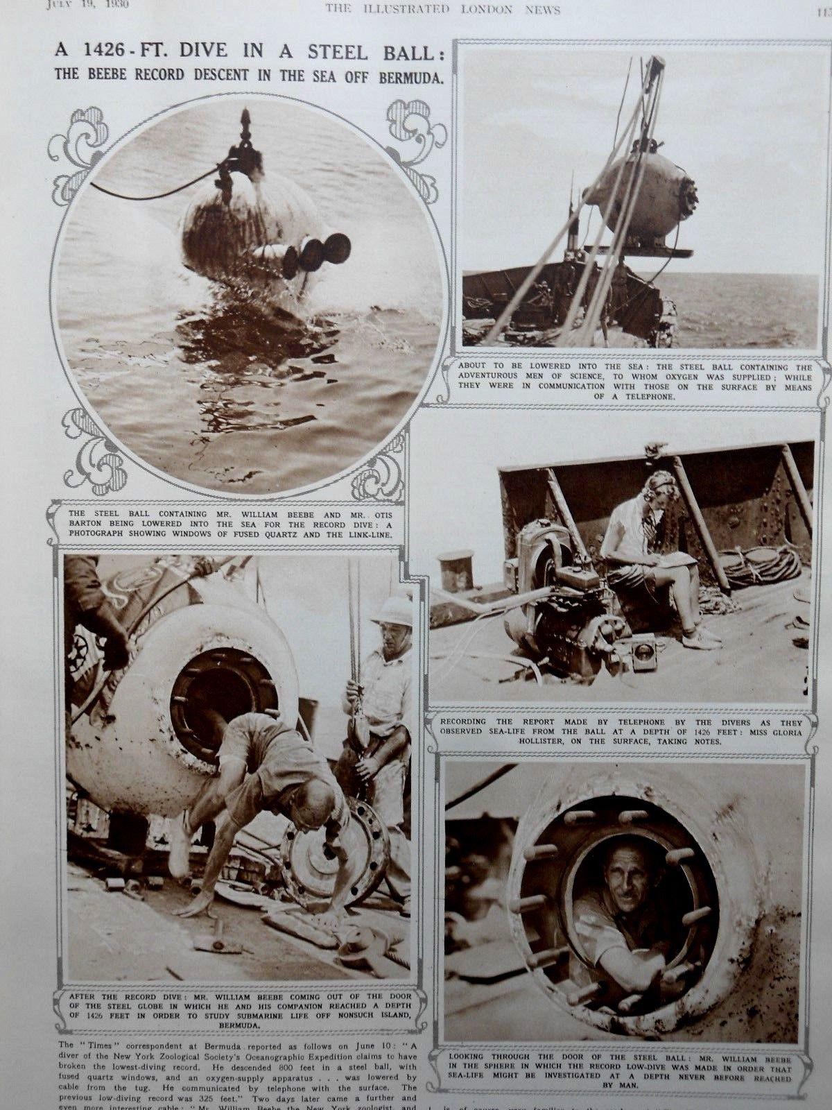 1930 London News illustrated Beebe Dive in Bermuda