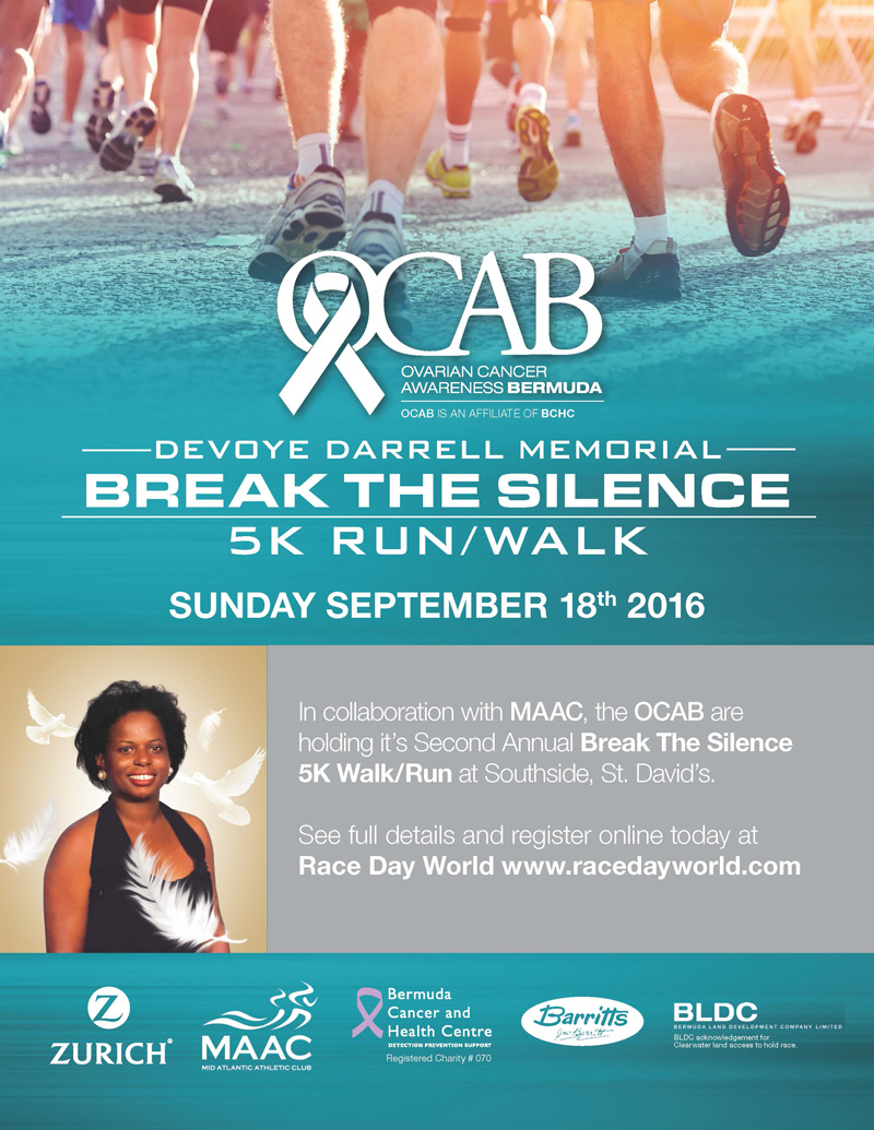 Ovarian Cancer Awareness Bermuda 5K RunWalk Sept 9 2016