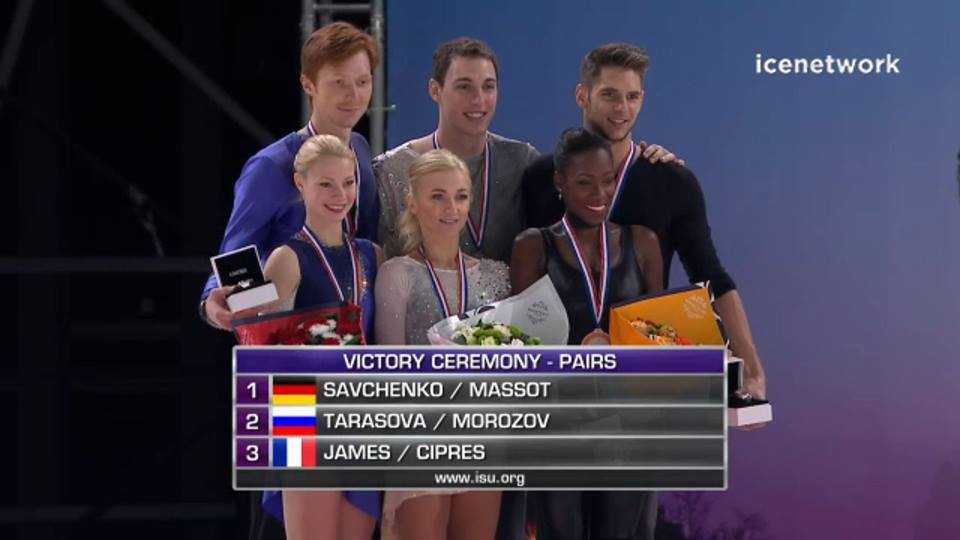 Vanessa James and Morgan Cipres Trophee de France Grand Prix Freeskate