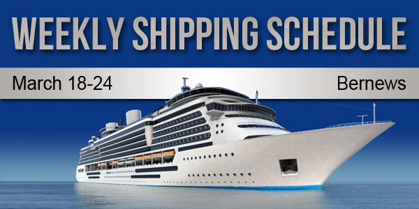 Weekly Shipping Schedule Bermuda TC March 18 - 24 2017