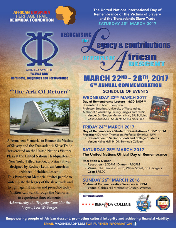 ADHT Remembrance Bermuda March 2017