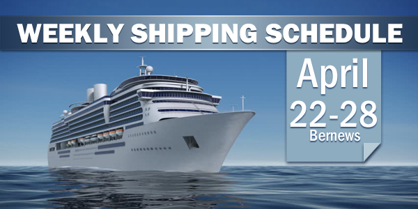Weekly Shipping Schedule Bermuda TC April 22 - 28 2017