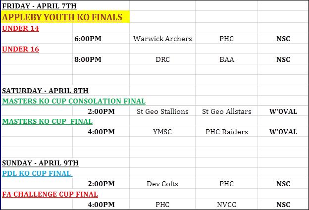 Football schedule Bermuda April 2017
