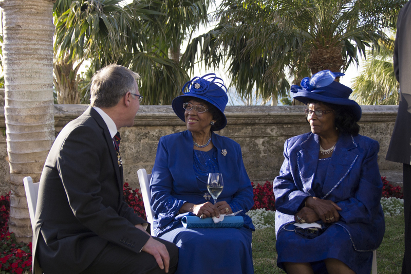 Governor Rankin with attendees at the reception Bermuda April 2017