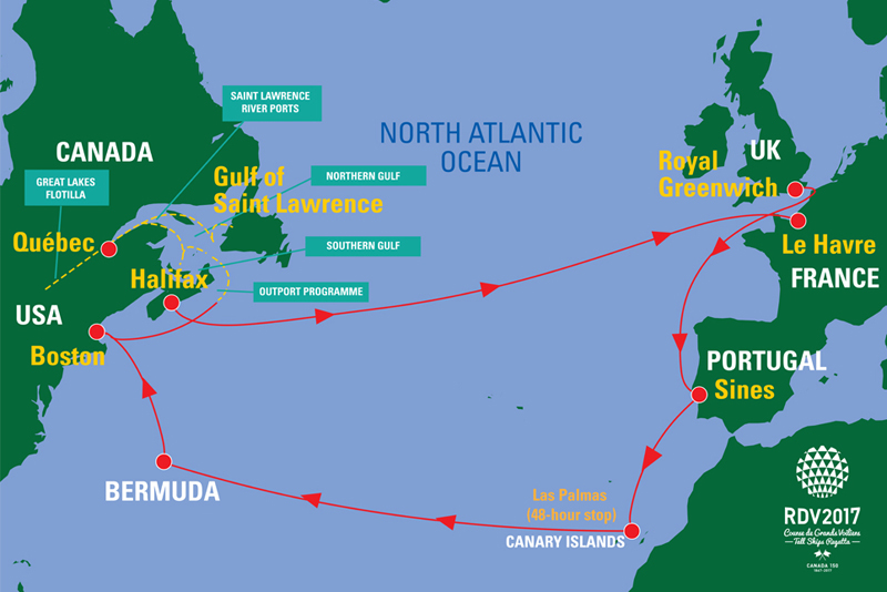 Tall ships route map Bermuda April 2017