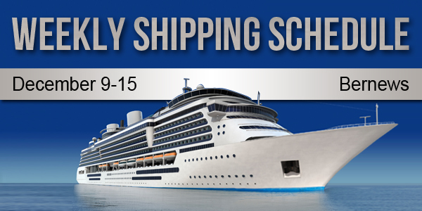 Weekly Shipping Schedule TC December 9 - 15 2017