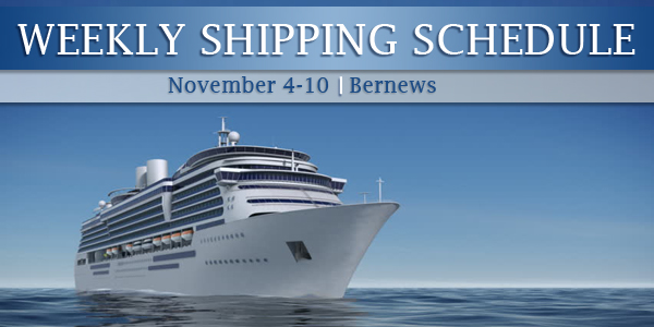 Weekly Shipping Schedule TC November 4 - 10 2017