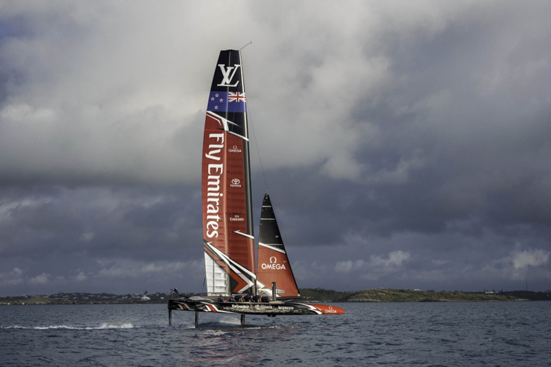 Emirates Team New Zealand prepare for their first day sailing in Bermuda
