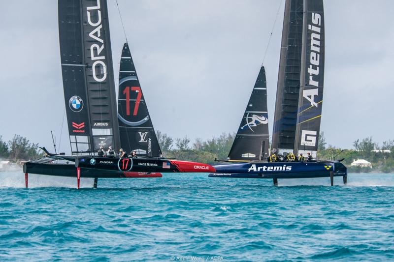 America's Cup Class (ACC) boats practice racing in Bermuda
