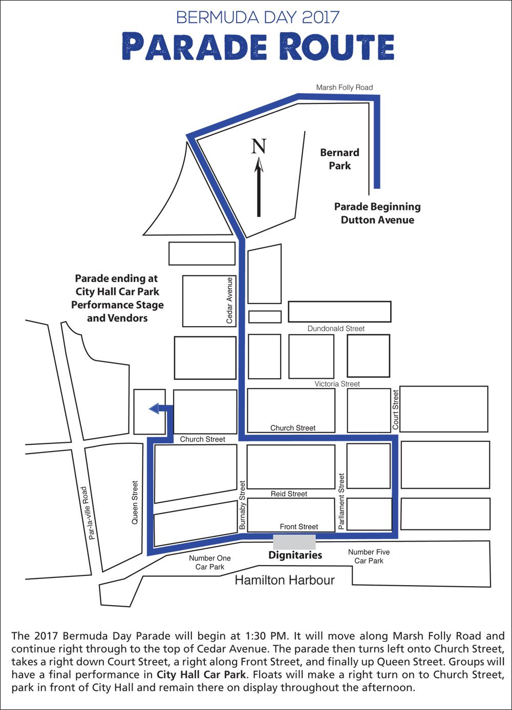 Bermuda Day Parade Route May 2017