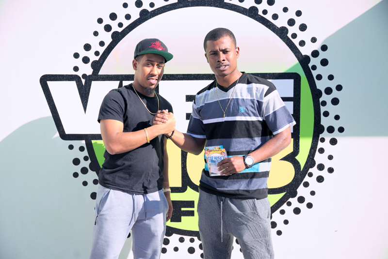 DJ Rusty G and prizewinner Cush Evans Bermuda May 2017