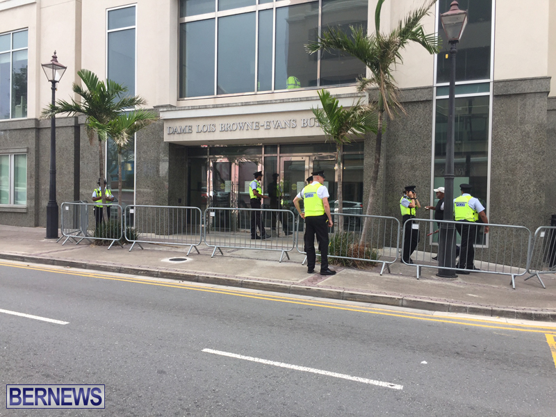 Police outside court Bermuda May 26 2017