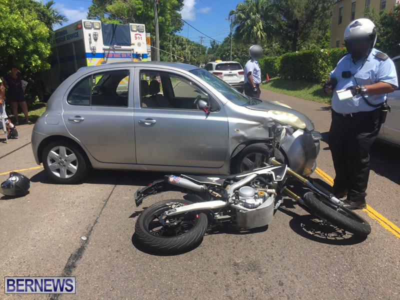Collision motorcycle and car Bermuda Aug 24 2017 (2)
