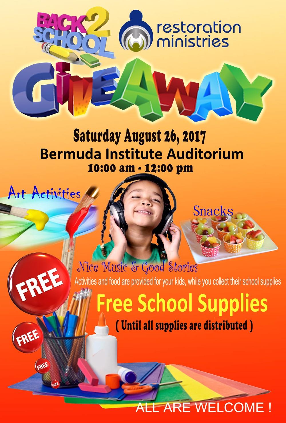 back 2 school giveaway Bermuda August 21 2017