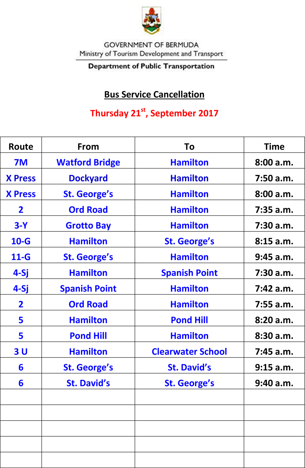Microsoft Word - Bus Service Cancellation List fro David