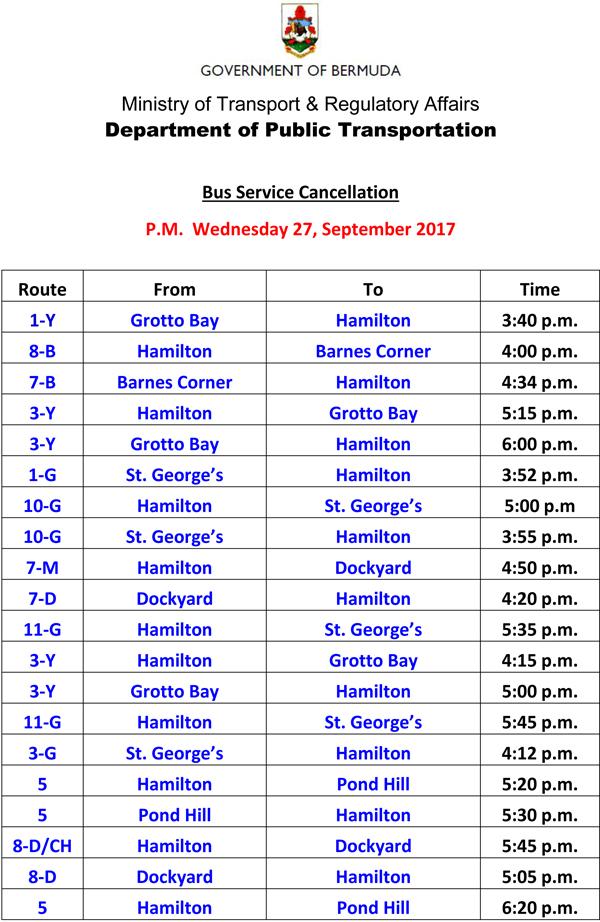 Bus Service Cancellation Wednesday 27-9-2017-1