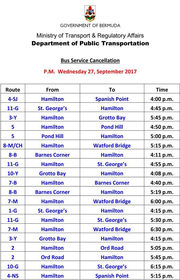Bus Service Cancellation Wednesday 27-9-2017-2