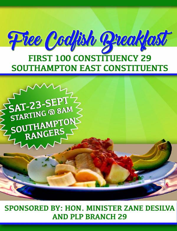 Free Codfish Breakfast Bermuda Sept 2017