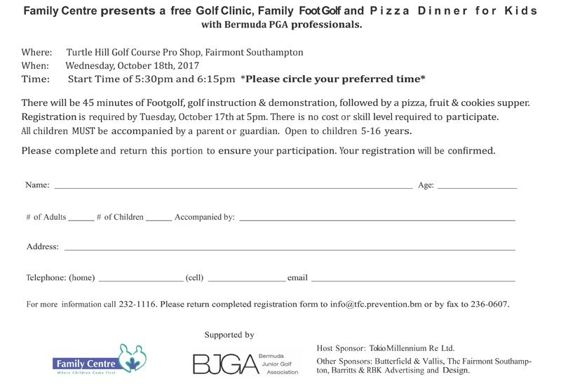 Golf Clinic Registration Form Bermuda Sept 2017