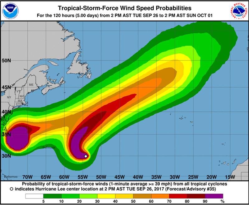 Hurricane Lee Bermuda Sept 26 2017 2