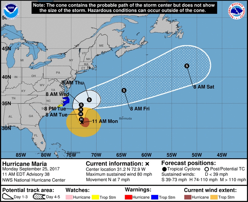 Hurricane Maria NHC Bermuda Sept 25 2017