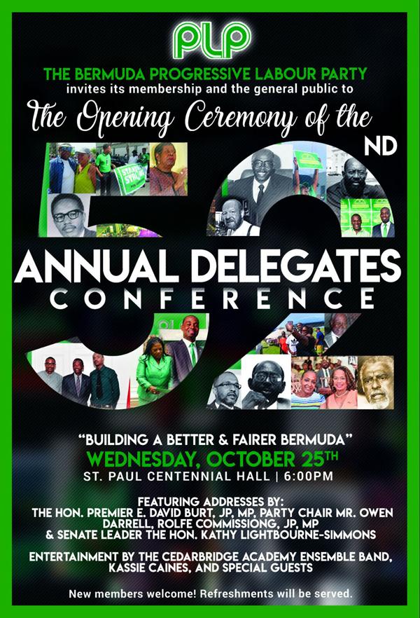 2017 PLP Annual Delegates Conference Bermuda Oct 19 2017
