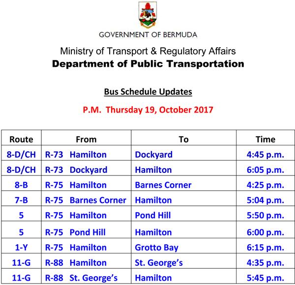 Bus Schedule Updates Thursday 19-October -2017-3