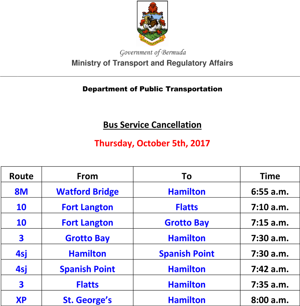 Microsoft Word - Bus Service Cancellation List for Thursday Berm