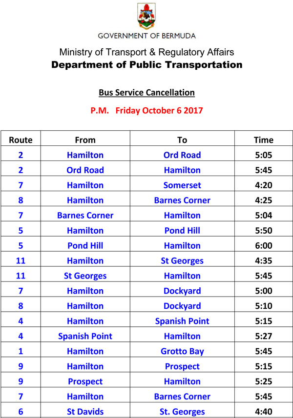 Bus Service Cancellation PM Friday October 6-2
