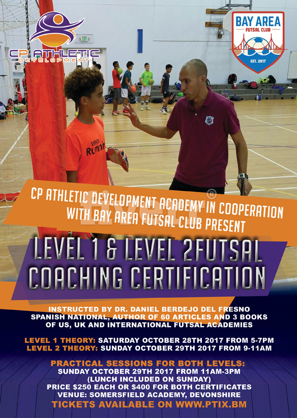 Futsal coaching certification Bermuda Oct 2017