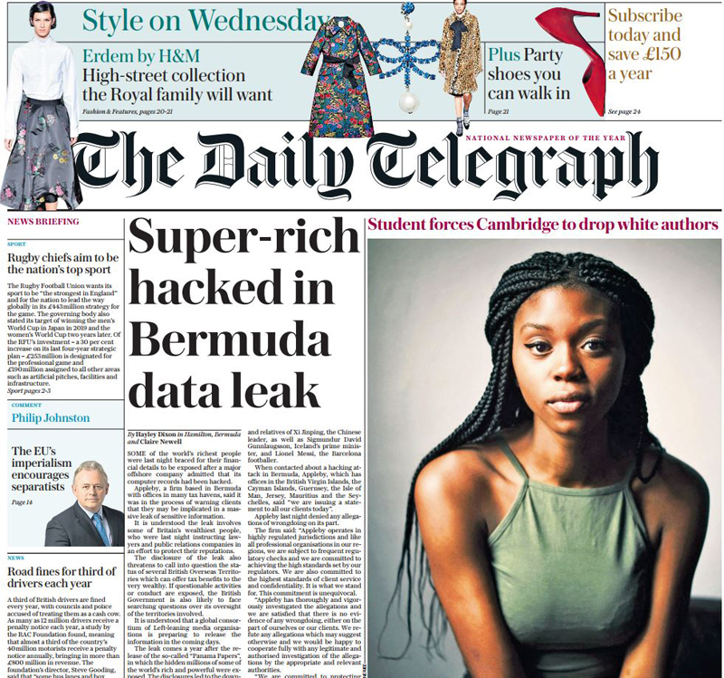 Super-rich hacked Bermuda Oct 24 2017