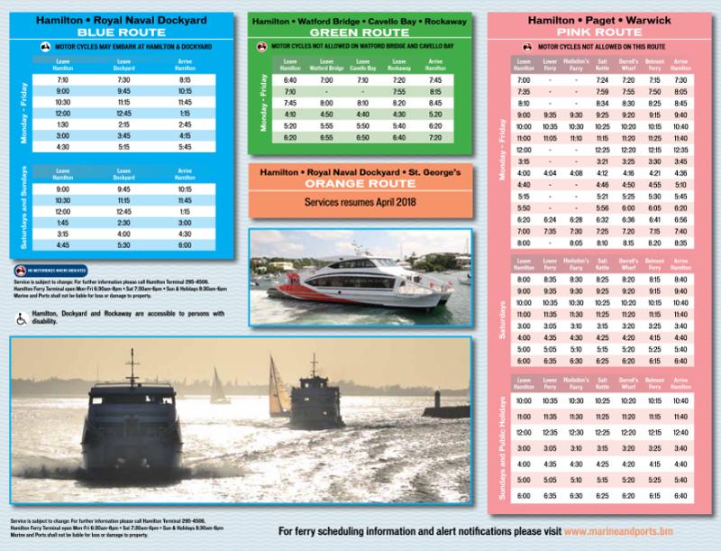 Winter Schedule 2018 Bermuda Oct 2017-2