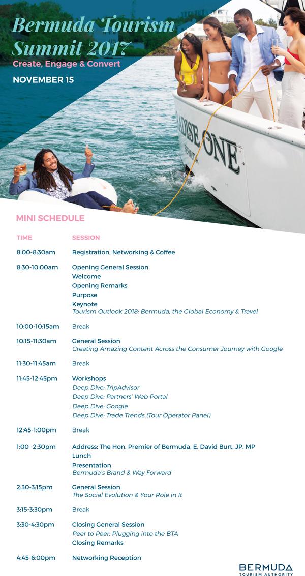 Bermuda Tourism Summit Schedule Nov 2017