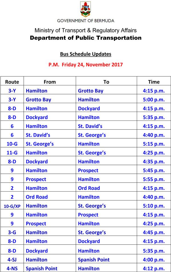 Bus Schedule Updates Friday 24-11-2017-1